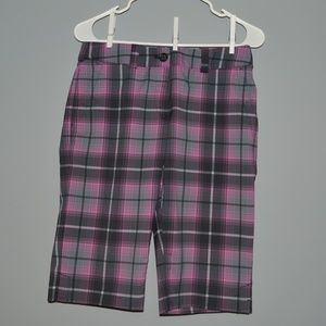 NIKE Womens Golf Plaid Dri-Fit Shorts Purple/Gray
